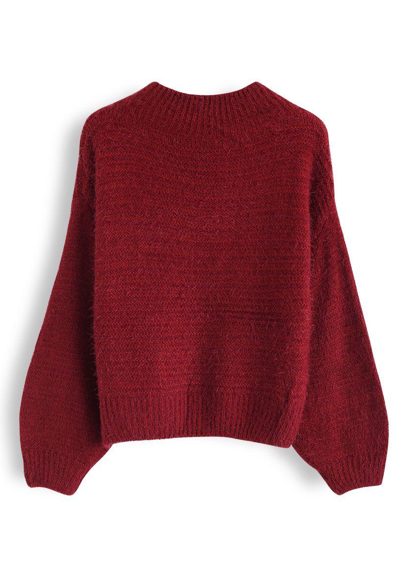 Round Neck Fuzzy Knit Sweater in Red