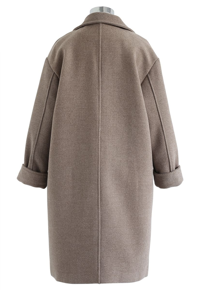 Flap Pockets Double-Breasted Wool-Blend Coat in Brown