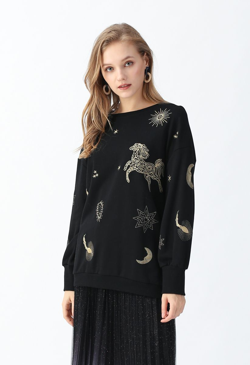 Star Sign Embroidered Pullover Sweatshirt in Black