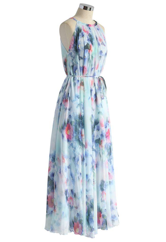 Aquarelle Bleu Tranquille Robe Florale Longue