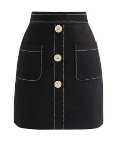 Contrasted Pockets Buttoned Mini Skirt in Black
