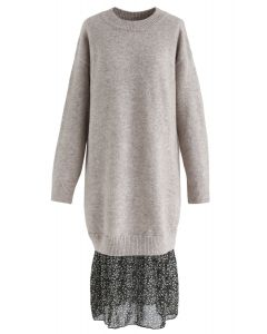 Fake Two-Piece Soft Knit Shift Dress in Sand