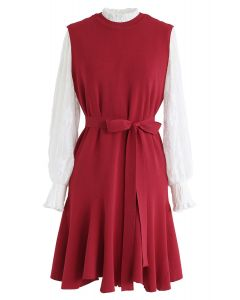 Mock Neck Lacy Top and Frill Hem Knit Dress Set in Red