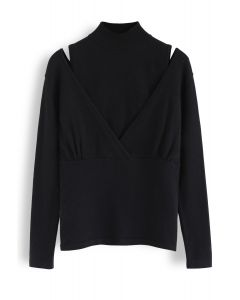 Fake Two-Piece Mock Neck Wrap Knit Top in Black