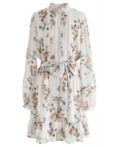 Posy Printed Eyelet Trims Chiffon Dress