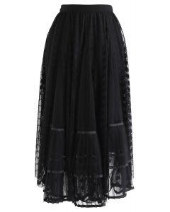 Jupe asymétrique en maille plissée en dentelle en noir