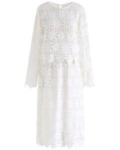 Ensemble haut et jupe en crochet tournesol complet en blanc