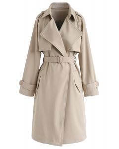 Manteau ceinturé à poches ouvertes sur le devant en sable