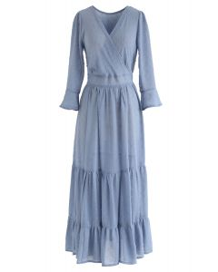 Robe longue à volants et volants drapés en bleu