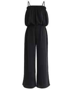 Tube Crop Cami Top and Wide Leg Pants Set in Black