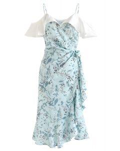 Greenery Floret Print Ruffle Wrapped Cami Dress
