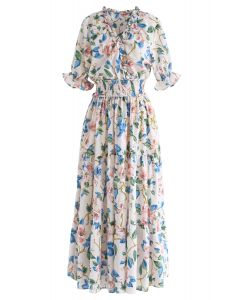 Full Blooming Floral Ruffle Wrapped Dress in Ivory