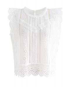Crochet Trim Sleeveless Lace Top in White