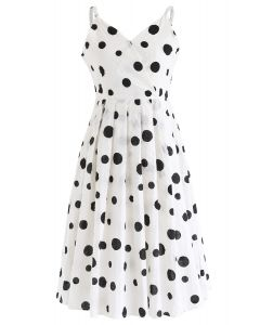 Dots Printed Pleated Cami Dress