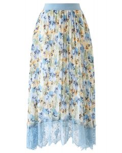 Lace Hem Floral Watercolor Pleated Chiffon Skirt in Dusty Blue
