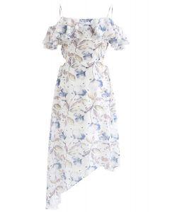 Flower and Leaf Print Asymmetric Cold-Shoulder Dress