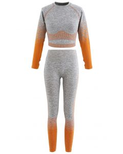 Striped Seamless Crop Top and Ankle-Length Leggings Set in Orange