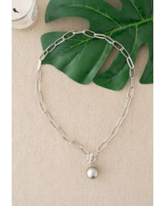 Silver Ball Oval Chain Necklace