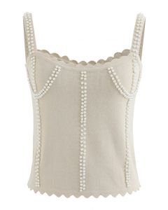 Faux Pearl Embellished Ribbed Knit Top in Cream