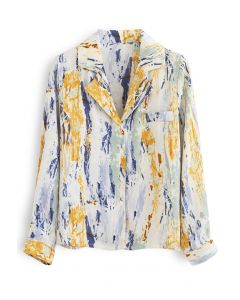 Multi-Colored Abstract Painting Buttoned Shirt