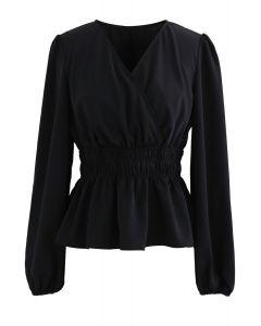 Puff Sleeves Chiffon Peplum Top in Black
