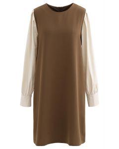 Bicolor Round Neck Midi Shift Dress in Brown