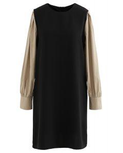 Bicolor Round Neck Midi Shift Dress in Black