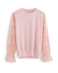 Embroidered Posy Mesh Sleeves Knit Top in Pink