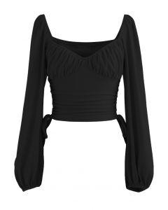 Side Drawstring Sweetheart Neck Crop Top in Black