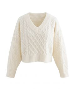 Tie-Back Cable Knit V-Neck Crop Sweater in Cream