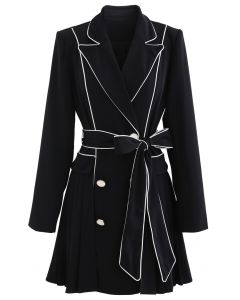 Piped Double-Breasted Pleated Blazer Dress in Black