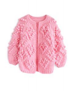 Knit Your Love Cardigan en rose vif pour enfants