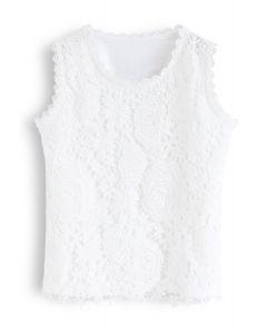 Dentelle Crochet sur le Front Haut en Blanc