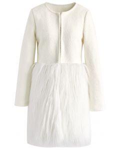 Manteau en fourrure blanc neige