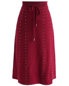 Jupe rayée en maille gaufrée gaufrée Gallant en rouge
