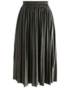 Invitation jupe plissée de velours Sheen à Olive
