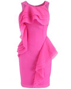 Robe élégante sans manches à volants Winner en rose vif