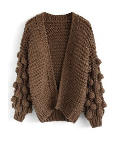 Cuteness on Sleeves Cardigan à grosse maille brun