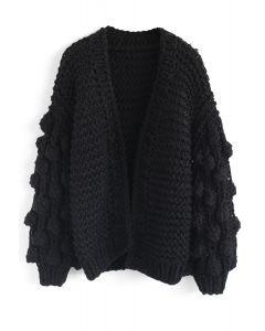 Cuteness on Sleeves Cardigan à grosse maille noir