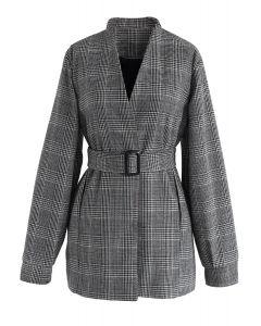 Blazer moderne en tweed à carreaux raffinés gris