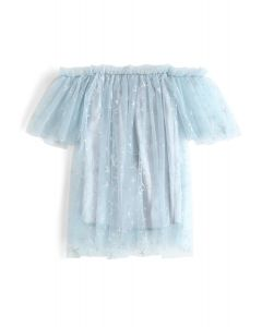 Stars Shining Out Mesh Off-Shoulder Tunic in Light Blue For Kids