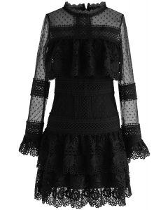 Sweet Destiny - Robe noire à mailles en crochet