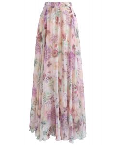 Jupe longue en mousseline à l'aquarelle, fleur de tournesol, rose