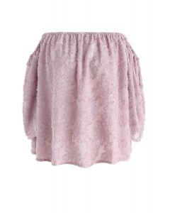 Top à épaules dénudées avec pompon et fleurs en rose
