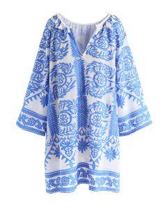 Touchez l'horizon Robe brodée en bleu