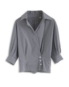 Wrap Up A Vacation Shirt in Black Gingham