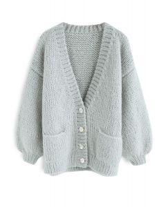 Pause pour le confortable cardigan en tricot à la main Chunky à la menthe