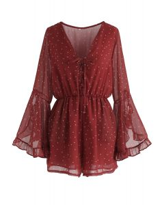 Befits Your Beauty Dots Playsuit in Red