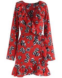 Robe à volants Deep Dream of Floral Wrap - Rouge