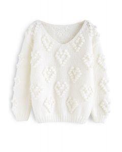 Pull tricoté col en V couleur blanc